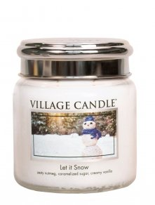 Let It Snow Medium Village Candle, geur van zoete suiker kokosnoot vanille en nootmuskaat
